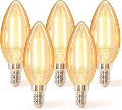 5x LED filament C35 4w 2200k amber